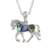 Kiara Jewellery Horse Pendant Necklace Inlaid With Natural greenish blue Paua Abalone Shell on 46cm Trace Chain. Non Tarnish Silver Colour Rhodium plated.