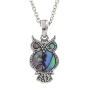 Kiara Jewellery Owl Pendant Necklace Inlaid With Natural greenish blue Paua Abalone Shell on 46cm Trace Chain. Non Tarnish Silver Colour Rhodium plated.