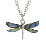Kiara Jewellery Dragonfly Pendant Necklace Inlaid With Natural Turquoise Paua Abalone Shell on 46cm Trace Chain. Non Tarnish Silver Colour Rhodium plated.