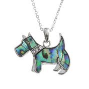 Kiara Jewellery Scottie Dog Pendant Necklace Inlaid With Natural greenish blue Paua Abalone Shell with glass stones inset collar on 46cm Trace Chain. Non Tarnish Silver Colour Rhodium plated.