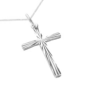 925 Solid Sterling Silver Diamond Cut Cross Pendant with a Sterling Silver Chain - A Gift of Love - Gift Boxed for the one you love