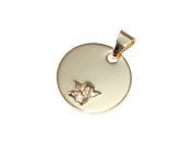 * 333 gold Children Round Pendant Guardian Angel Engraved Gift *
