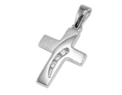 * Communion Pendant 925 Silver Cross with 3 Zirconia, Sanded/Shine Lucky Charm *