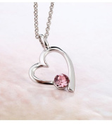 Ananth Jewels Elements Pink Crystal Open Heart White Gold Plated Pendant for Women