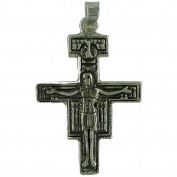 Sterling silver pendant altarpirce cross aged finished with Christ in relief. 925 Sterling Silver Jewellery.