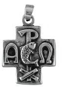 Aged Sterling Silver Crismon cross pendant. 925 Sterling Silver Jewellery.