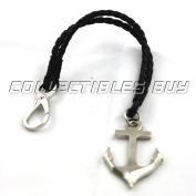 Nautical silver anchor with loop lock - key chain leather cord vintage style small gifts