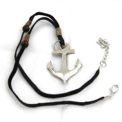 silver ship anchor jewelery pendant nautical beads leather cord hanicraft collection