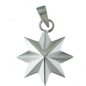 Eight-pointed Shiny Sterling Silver Star Pendant. 925 Sterling Silver Jewellery