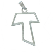 Sterling Silver openwork Tau Cross Pendant. 925 Sterling Silver Jewellery.