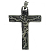 Aged sterling silver cross with Christ in relief. 925 Sterling Silver Jewellery