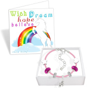 Girls Unicorn Pink Leather Charm Bracelet Set and Greeting Card Gift Box Set Jewellery