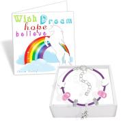 Girls Unicorn Purple Leather Charm Bracelet Set and Greeting Card Gift Box Set Jewellery