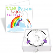 Girls Unicorn Black Leather Charm Bracelet Set and Greeting Card Gift Box Set Jewellery