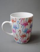 Flamingo China Mug White with Pinks and Blue colours