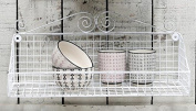 Wire Wall Shelf Antique White Shabby Vintage Chic French Style 43 cm