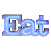 Blue Light-up Led Eat Sign Plaque Wall Mount Kitchen Night Light Centrepiece New