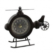 Hometime Clock - Metal Helicopter Mantel Clock - 19cm - W2778 - New