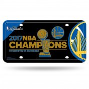 NBA Golden State Warriors 2017 Basketball Champions Metal Tag, 30cm by 15cm , Royal Blue, Gold