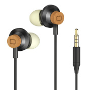 Wood Earphones Headphones, Omars In-ear Bass Noise-isolating Earbuds with Microphone and Carrying Pouch 2017 Newest Version