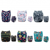 Alva Baby New Positioning and Printed Design Reuseable Washable Pocket Cloth Nappy 6 Nappies + 12 Inserts 6DM44-EU