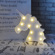 Cute Unicorn Head Led Night Light Animal Shape Marquee LED Lamps on Wall for Kids Children Gift Indoor Lighting Party Wedding Room Decor-White