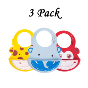 INCHANT Fashion Cartoon Animal design Soft Silicone Bibs for Baby Toddlers,Easily Wipes Clean and Rolled Up for Travel or Outdoor use Baby Feeding Bib, Waterproof Comfortable Kids Babies Lunch Bibs Food Catcher Pocket - 3 Colours/Set