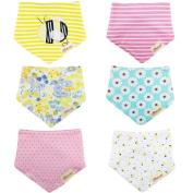 Txian 6PCS Bandana Baby Girls Bibs 100% Cotton Dribble Bibs Cute Pattern Waterproof Saliva Towel For Babies And Toddlers