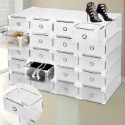 Shoe Rack Organiser 9 Plastic Drawer Shoe Storage Box Clear Stackable Shelf Transparent Folding High Quality Large Size Cabinet Unit for Women & Men - Clear