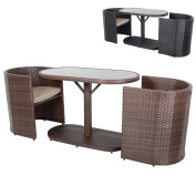 Latina Bistro Garden Glass Top Table Furniture Set With 2 Rattan Wicker Chairs