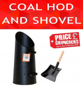 Black Metal Coal Bucket With Fire Ash Shovel Log Holder Hod Fireplace Fireside
