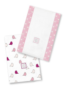 SwaddleDesigns Baby Burpies, Set of 2 Cotton Burp Cloths, Pink Little Chickies