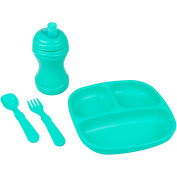 Re-Play Made in the USA Divided Plate, Soft Spout, Utensil Set for Baby and Toddler- Aqua