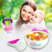 MyPrecious Baby Feeding Set, Non-skid Mash and Serve Bowl and Baby Feeding Fruit Pacifier Fresh Fruit Pacifier Food Feeder Mash Bowl LIKE NUK