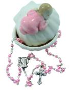 Baptism Porcelain Clam with Sleeping Baby Girl Figurine Keepsake Box With Rosary