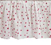 Zack & Tara Crib Skirt - Stars in Cerise on White