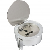 Knightsbridge SKAVR003 13 A 1G Recessed Mounting Socket with 5 V DC 2.1 A Dual USB Charger - Silver