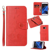 Galaxy S7 Case, Dfly Premium PU Leather Embossed Couple Bird Pattern Detachable Magnetic Case Design Card Slots & Wrist Strap Slim Flip Protective Wallet Cover for Samsung Galaxy S7 2016, Red