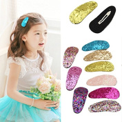 9Pcs Baby Girls Glitter Hair Bow Snap Clips Set Colourful Clips