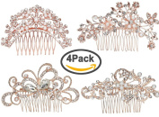 Pack of 4 Bridal Wedding Hair Comb Rose Gold Crystal Rhinestones Pearls Women Hair Side Combs Bridal Head Pin Headpiece