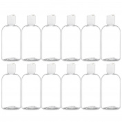 MoYo Natural Labs Applicator Bottle Boston Round Disc Top Clear Essential Oil Bottle and Shampoo Dispenser 240ml Pack of 12