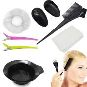 7 PCS Beauty Hair Dye Set - YSLF Dye Brush Comb, Dye Bowl, Clip, Ear Protectors, Disposable Shower Cap, Disposable Gloves & Disposable Shawl