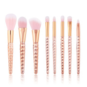 ASIMOON 8pcs Makeup Brushes Professional Cute Honeycombed Handle Cosmetics Brush Set For Foundation Liquid Powder Cream Super Soft Blending Blush Contour Concealer With Cosmetic Bag