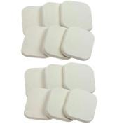 Garrelett 12 Pcs Square Facial Sponge Loose Powder Puff Pad Cosmetic Makeup Tool for Lady