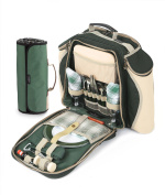 Greenfield Collection Deluxe Forest Green Picnic Backpack Hamper for Two People with Matching Picnic Blanket