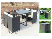 5 Pc Rattan Furniture Patio Garden Decking 4 Chairs Sofa W/ Cushions Set Cube