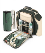 Greenfield Collection Super Deluxe Picnic Backpack Hamper for Two People in Forest Green with Matching Picnic Blanket