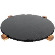 Round Acacia Slate Lazy Susan Swivel Rotating Serving Plate Display