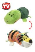 FlipaZoo's Little FlipZee 13cm Pocket Size Plush Figure - Rainbow Tiger Transforming To Turtle
