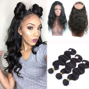 Shengji Hair Pre Plucked 360 Lace Front Closure with Bundles for Black Women Brazilian Virgin Human Hair 7a Body Wave 360 Lace Frontal with Baby Hair